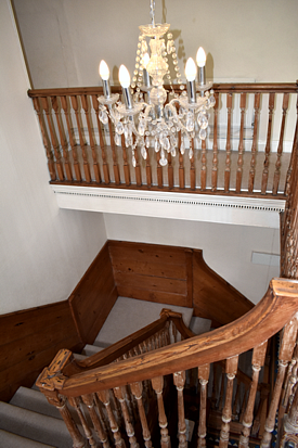 Stairway to upper landing Charter House Hartland